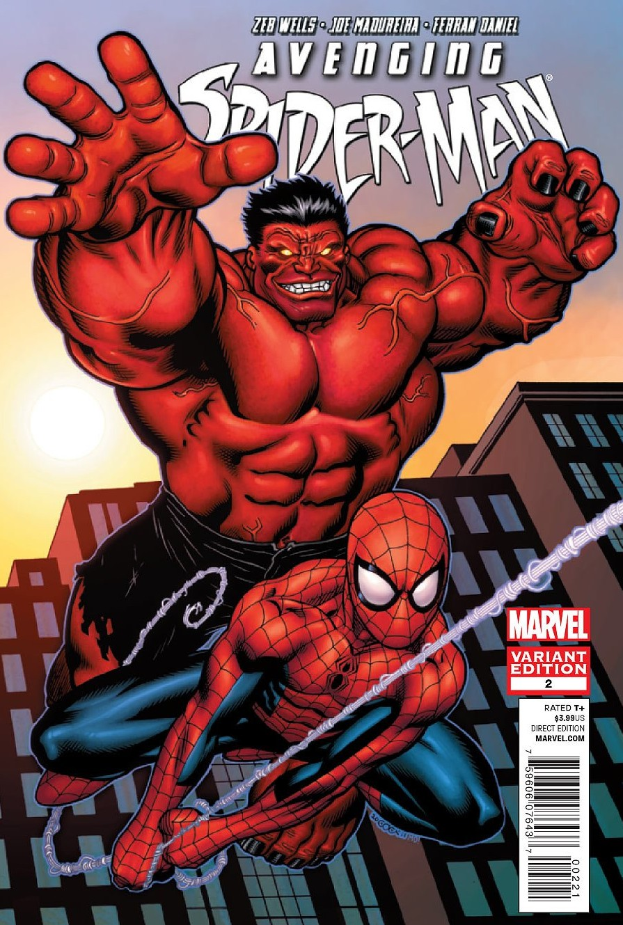Avengers spider man 2 variant cover with red hulk