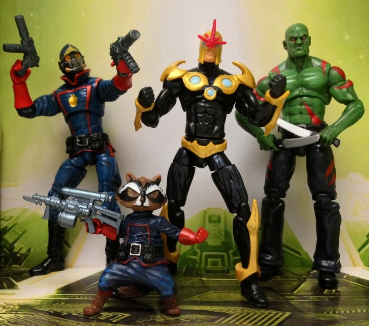 Marvel Universe Guardians of the Galaxy Nova Rocket Raccoon Drax Starlord Figures