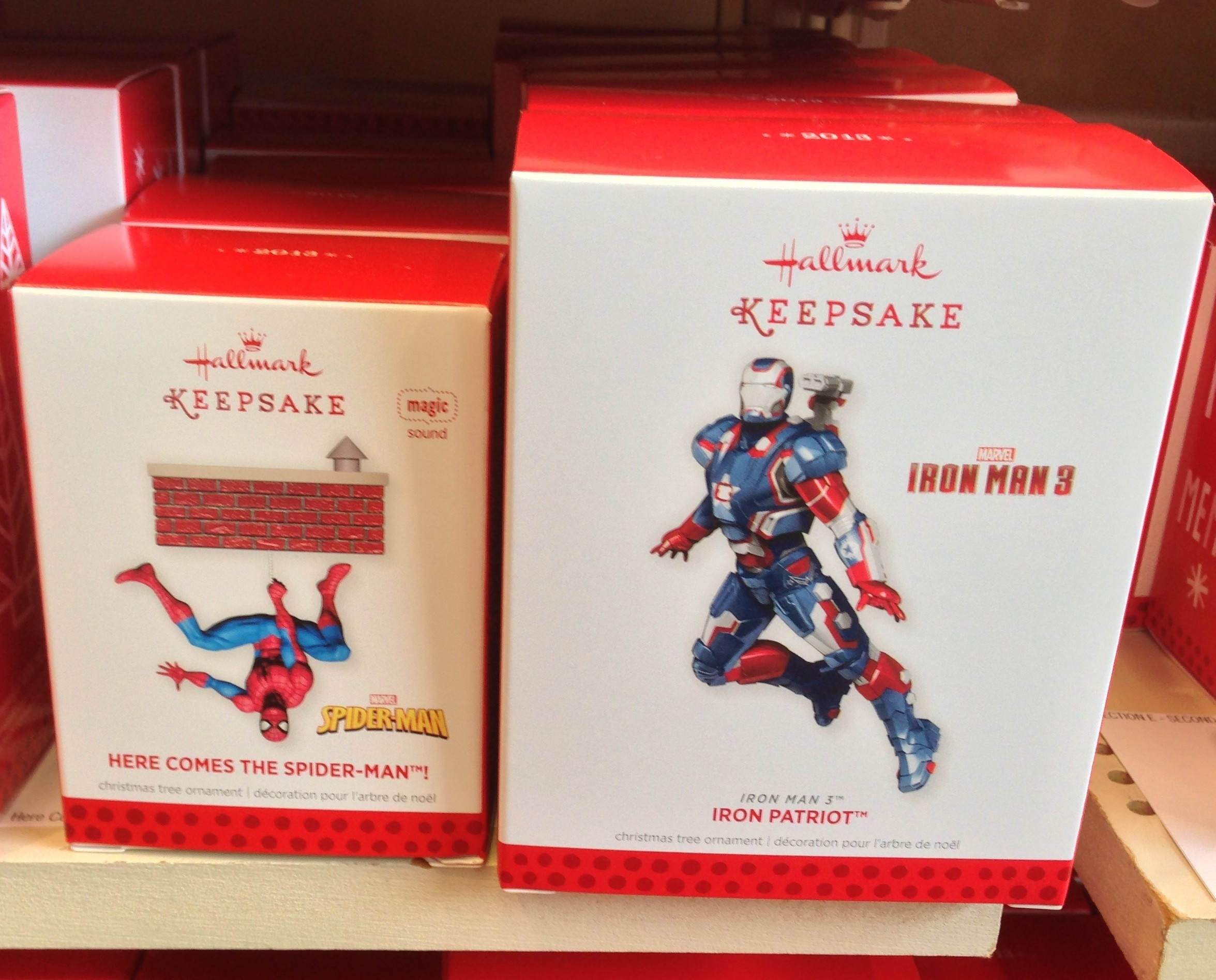 2013 hallmark ornaments released spider man iron patriot