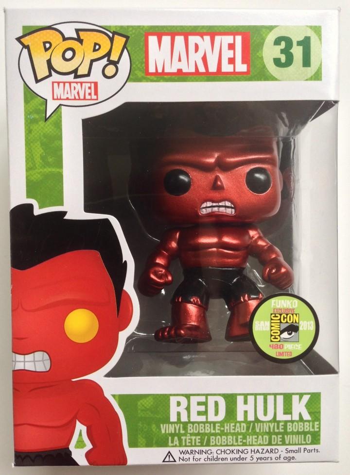 Packaged SDCC 2013 Metallic Red Hulk Funko POP! Vinyl