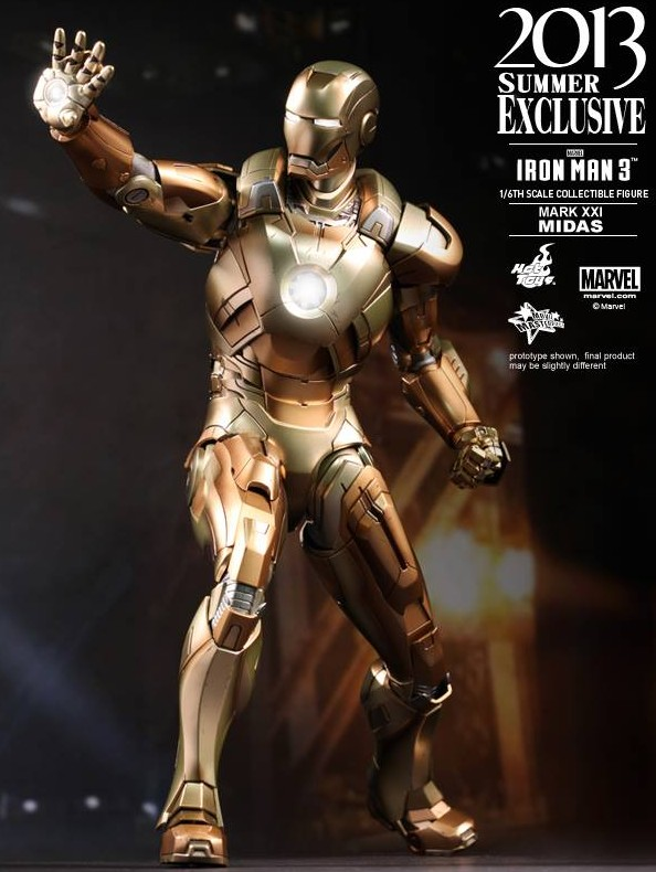 Iron Man 3 Hot Toys Iron Man Midas Armor Mark 31 Gold Movie Masterpiece Exclusive