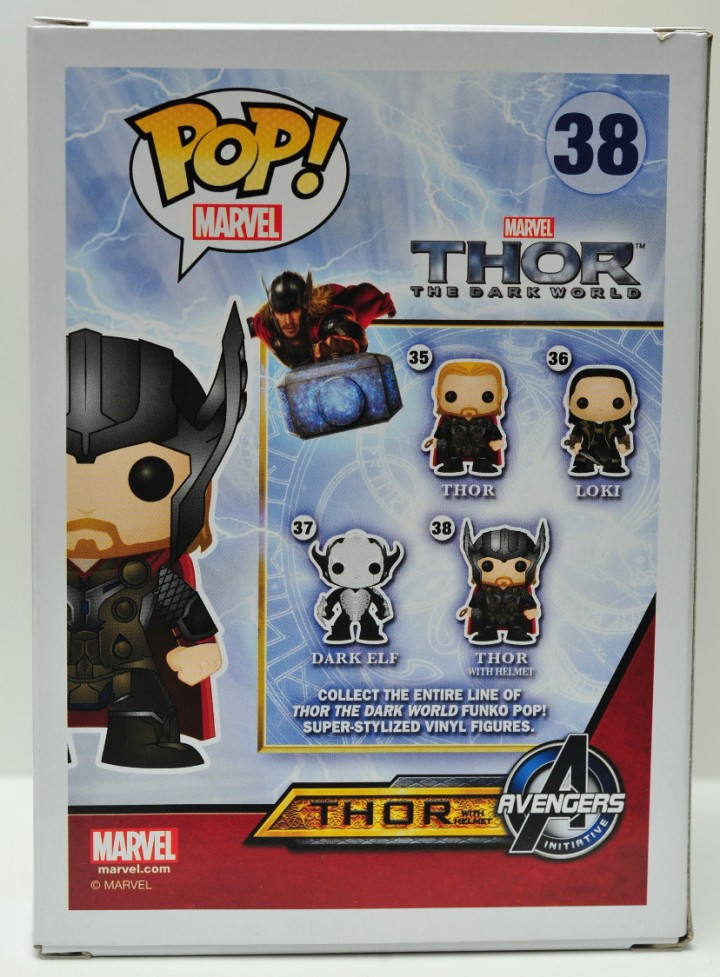 Hot Topic Thor with Helmet Exclusive Funko POP Vinyls Figure 38 Box Back
