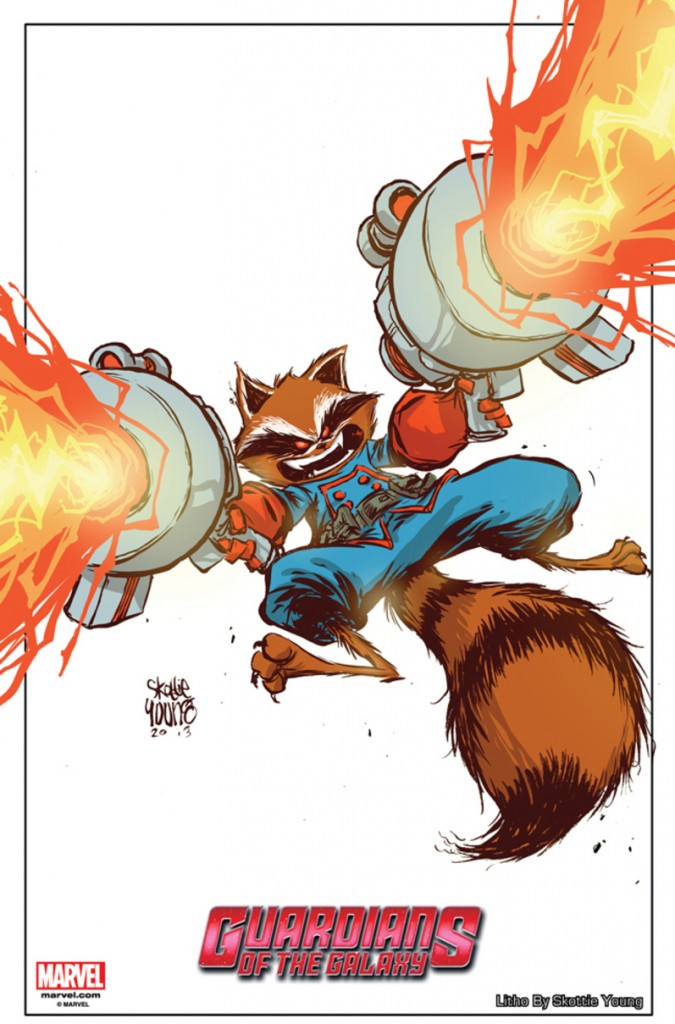 Rocket Raccoon Lithograph by Skottie Young NYCC 2013 Exclusive