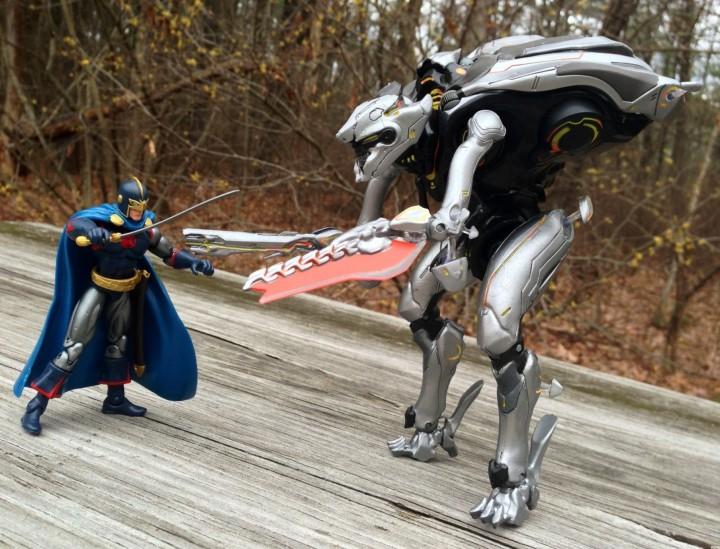 Marvel Universe Black Knight vs. Halo 4 Promethean Knight Figures