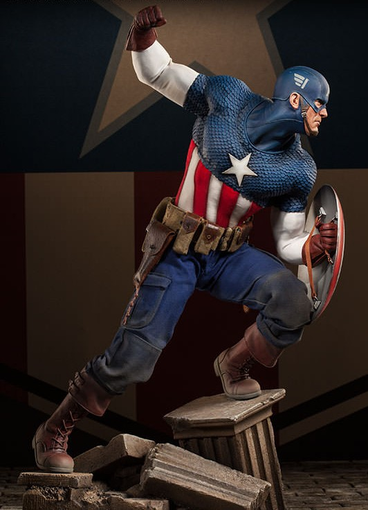 Premium Format Captain America Allied Charge on Hydra Statue 2014 Sideshow Collectibles