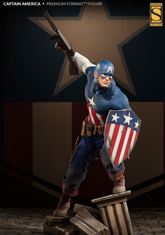 Sideshow Exclusive Captain America Premium Format Figure with Submachine Gun