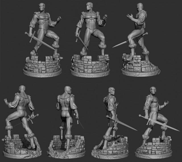 Bowen Designs Baron Zemo Full-Size Statue Digital Sculpt Turnaround