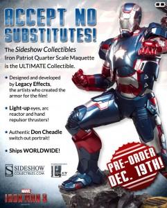 Sideshow Collectibles Iron Patriot Quarter Scale Maquette Iron Man 3 Movie