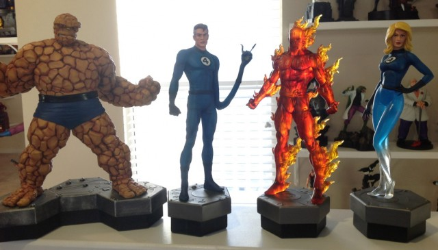 Bowen Fantastic Four Statues Complete Team Thing Human Torch Mr Fantastic Invisible Woman