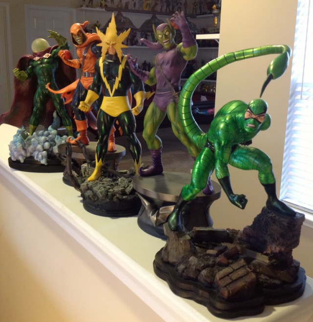 Bowen Green Goblin Statue and Bowen Designs Spider-Man Villains Statues Mysterio Scorpion Electro