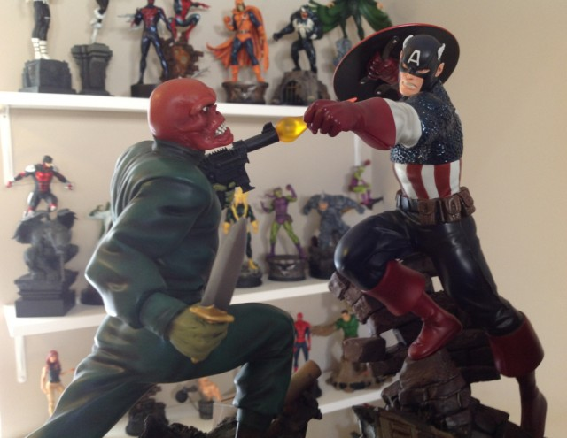 Bowen Designs Red Skull Action Statue vs Classic Captain America Statue