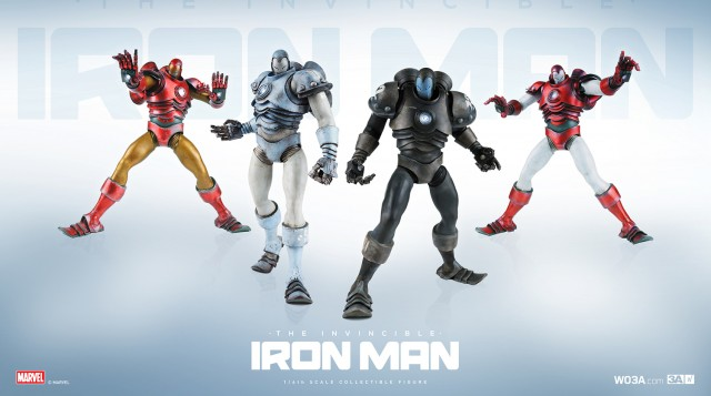 ThreeA Toys Iron Man Sixth Scale Figures Set Stealth Prototype Classic Silver Centurion