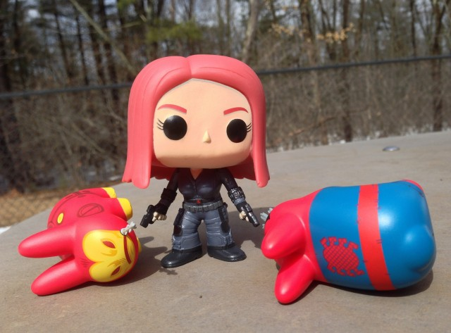 Funko Black Widow vs. KidRobot Labbits Iron Man & Spider-Man Vinyl Figures