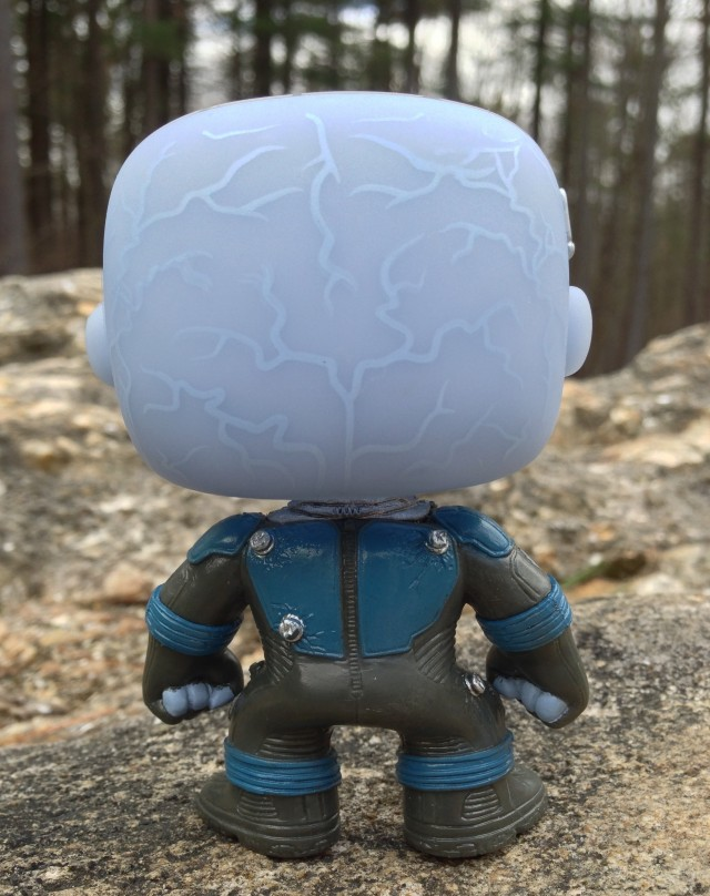 Back of Funko POP Vinyl Electro Action Figure