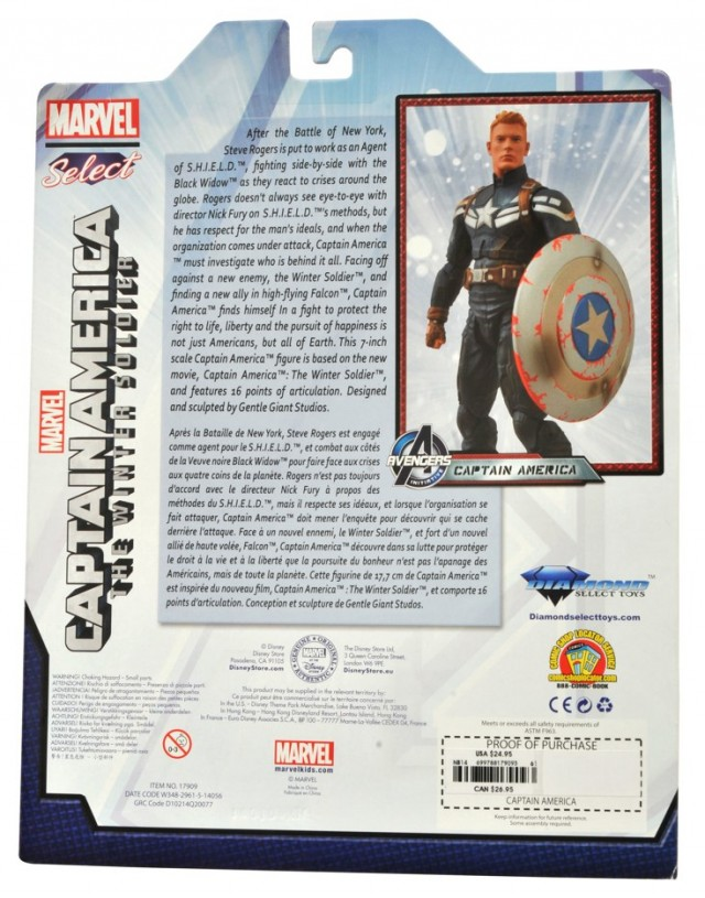 Disney Store Exclusive Marvel Select Unmasked Captain America Cardback