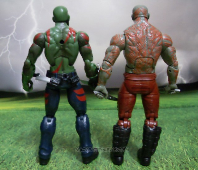 Drax Back Tattoos Comparison on Hasbro Marvel Legends Drax Figures