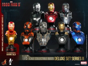 Iron Man Hot Toys Busts Series II Set of 8 with exclusive Holographic Mark 42 Iron Man