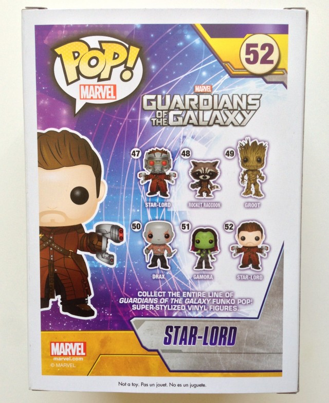 Funko Amazon Exclusive Star-Lord Unmasked POP! Vinyls Box Back
