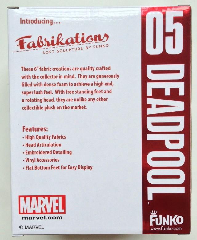 Marvel Funko Fabrikations Deadpool Box Back