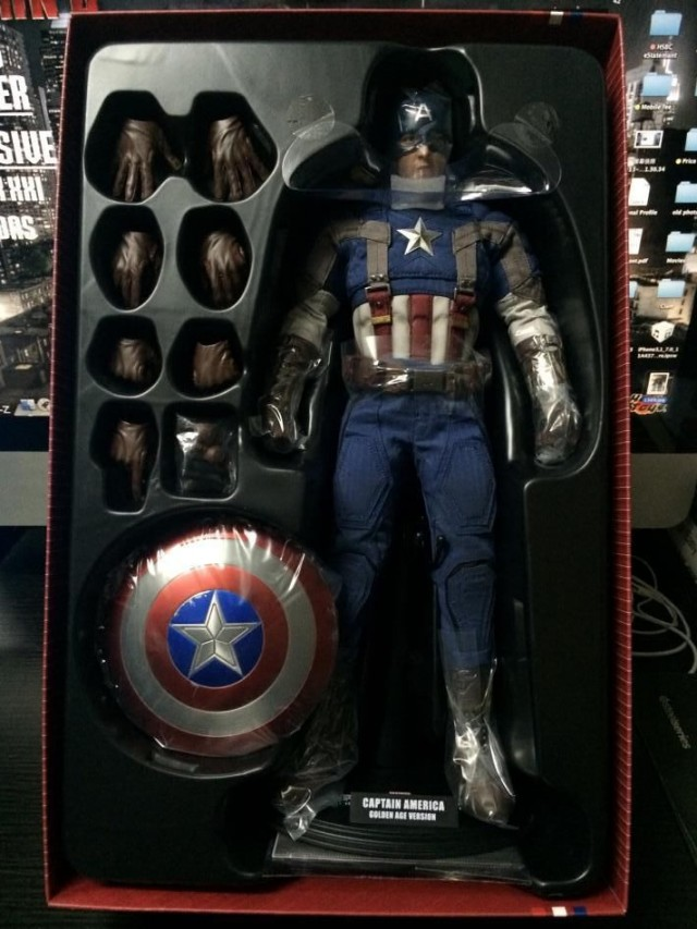 Captain America Golden Age Version Figure in Plastic Tray Packaging
