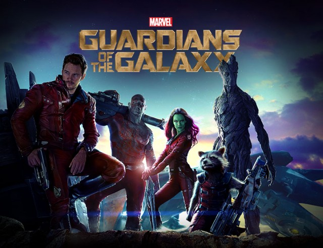 Guardians of the Galaxy Movie Poster Complete Team Star-Lord Rocket Raccoon Groot Gamora Drax