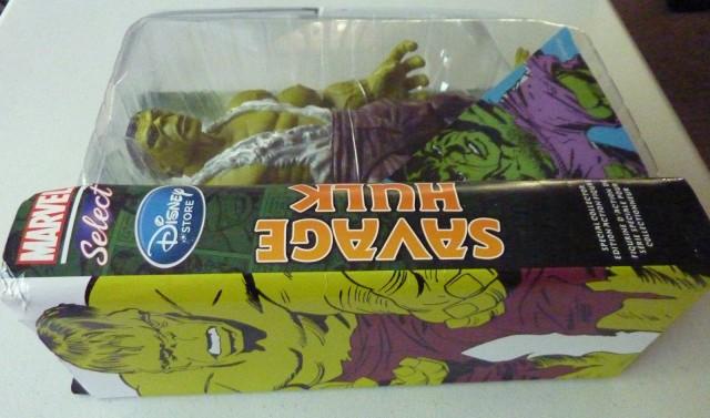 Side of Box Marvel Select Savage Hulk Figure Diamond Select Toys Exclusive