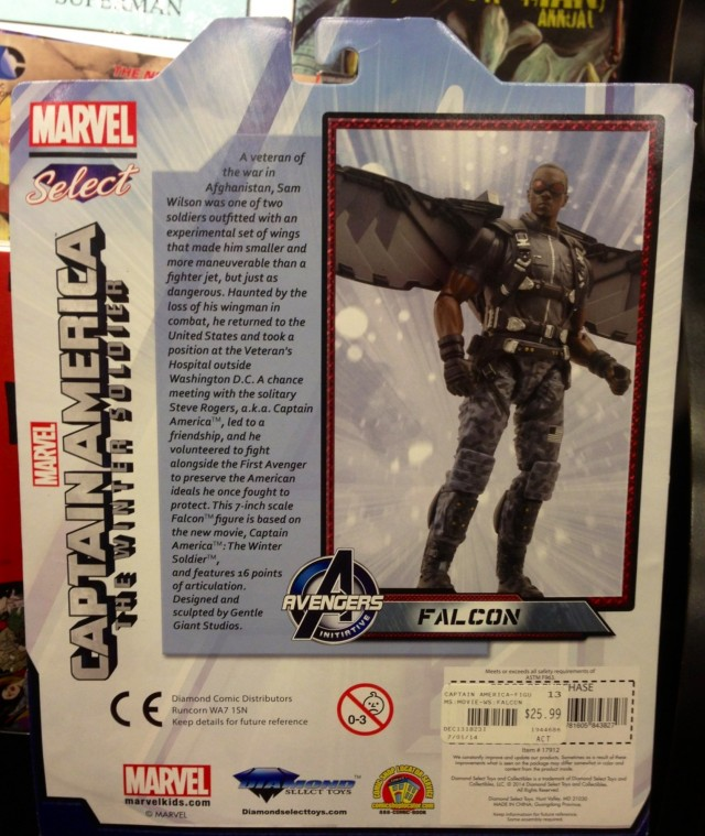 The Falcon Marvel Select Figure Cardback Packaging & Bio