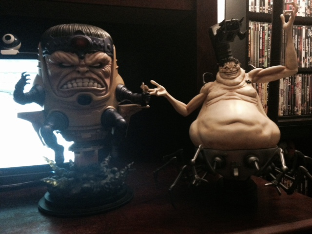 Bowen MODOK and Mojo Statues Size Comparison Photo