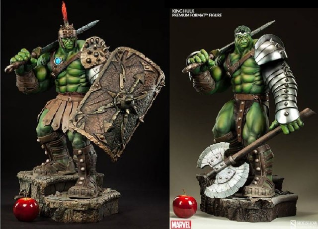 Comparison Sideshow King Hulk Premium Format Figure and Gladiator Hulk Statue