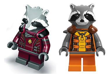 LEGO Rocket Raccoon Minifigure SDCC 2014 Exclusive Variant Comparison Photo