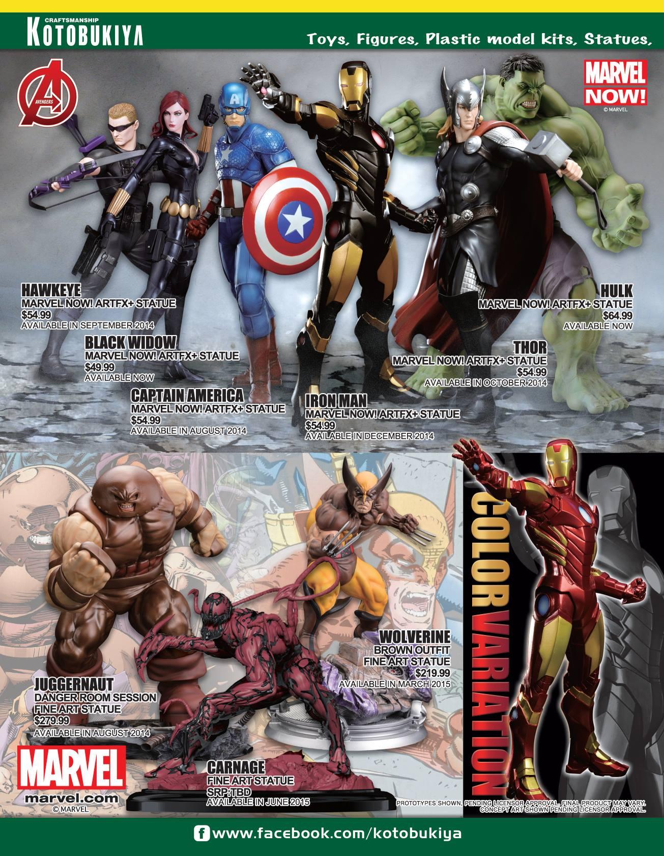 SDCC 2014 Kotobukiya Catalog Marvel Carnage Fine Arts Statue