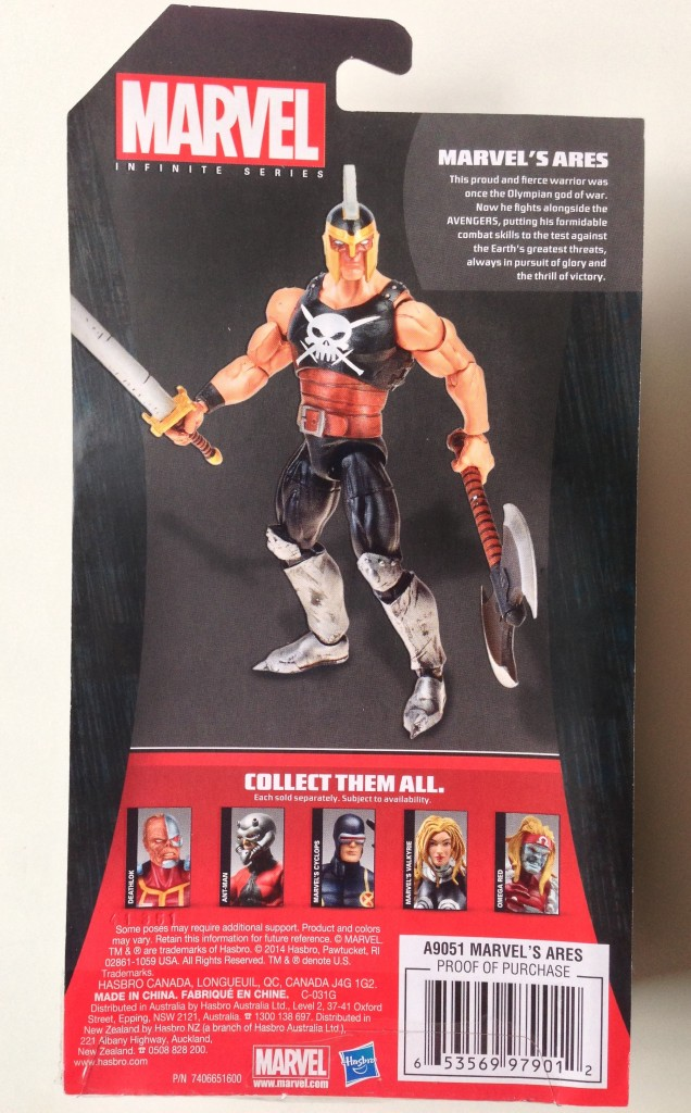 Marvel Infinite Series Ares Cardback Bio
