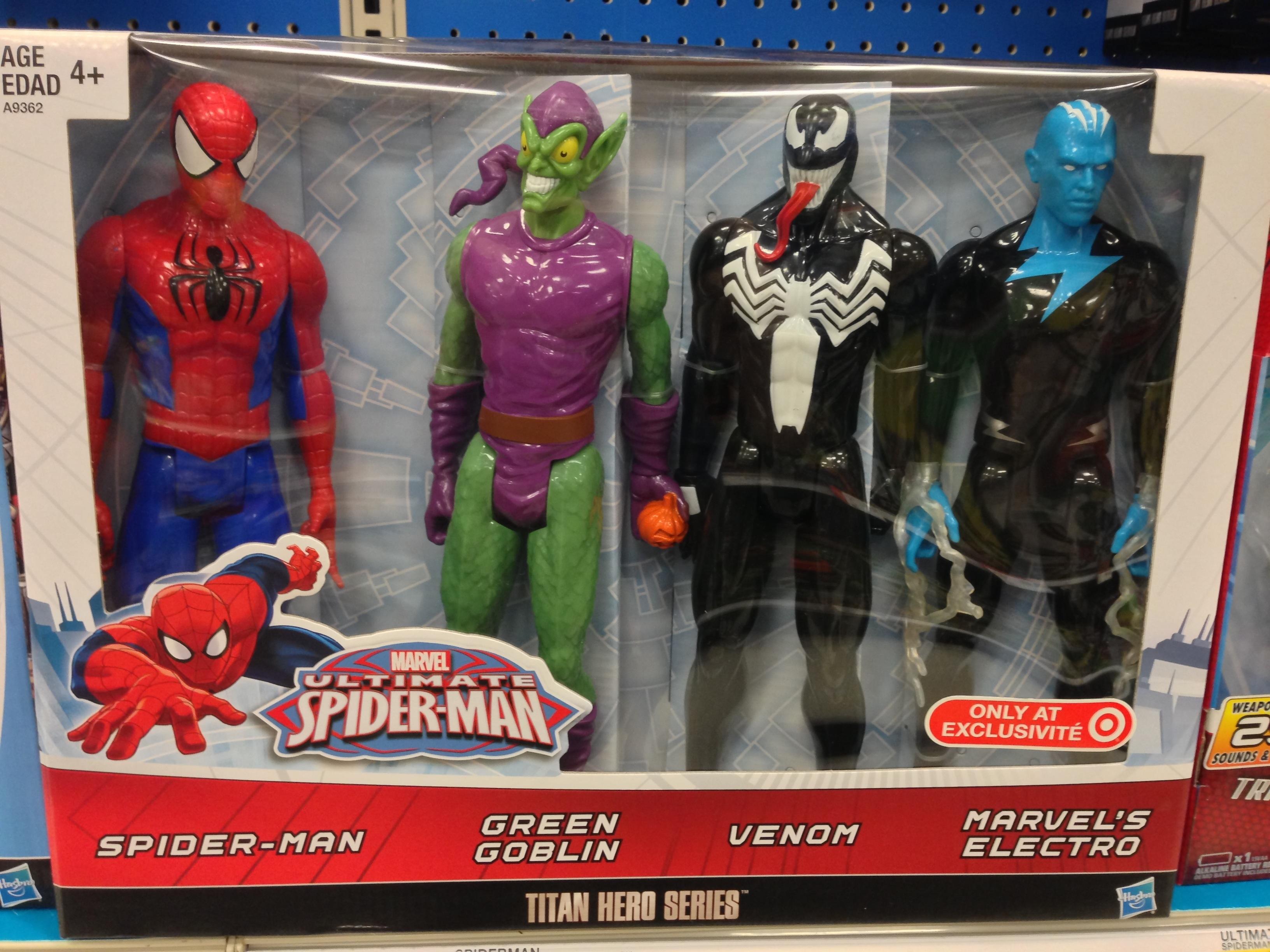 "Venom Spider Man Electro Marvel Titan Hero Series 4 Figure Set 12/"" Green Goblin"