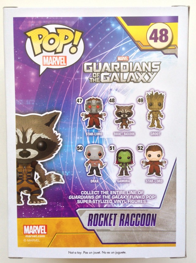 Back of Funko Guardians of the Galaxy POP Vinyls Box