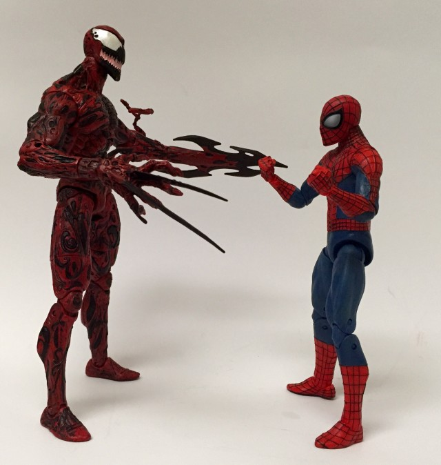 Marvel Select Spider-Man and Carnage Figures Size Scale Comparison Photo