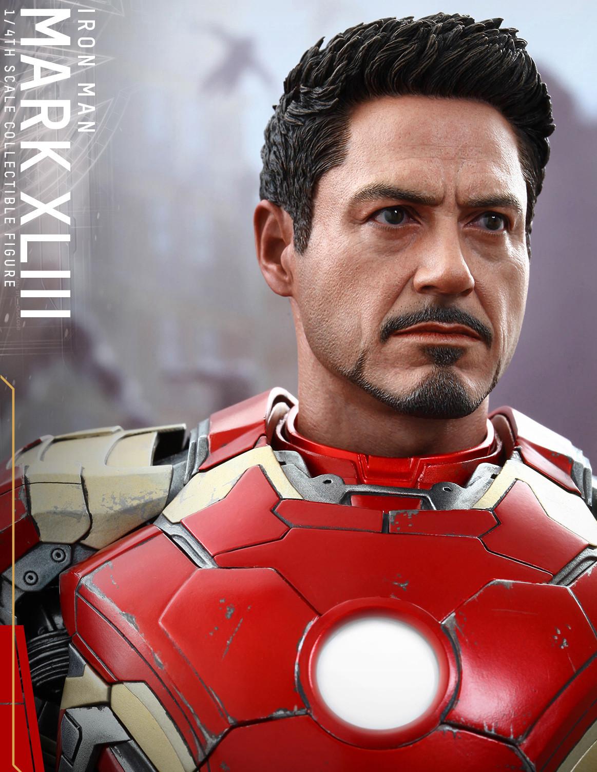 Iron Man Mark 43 Hot Toys Tony Stark Head Robert Downey Jr. Portrait Robert Downey