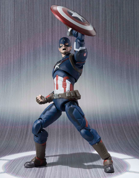 SH Figuarts Captain America Figure with Shield Raised Yelling Head