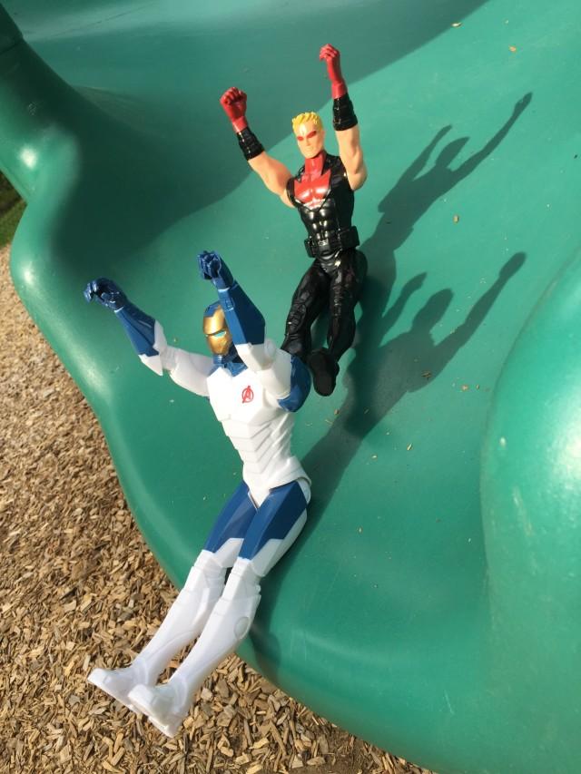 Titan Heroes Hawkeye & Iron Legion Playing on Slide