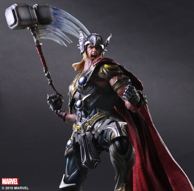 Play Arts Kai Marvel Thor Figure Swinging Hammer