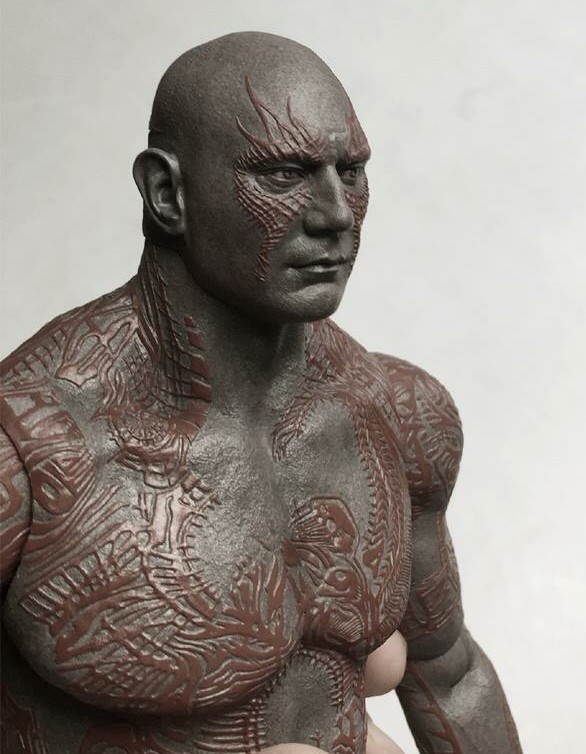 Close-Up of Drax Hot Toys Figure Head Tattoos