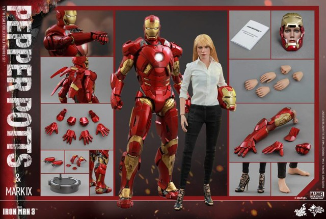 Hot Toys Pepper Potts and Iron Man Mark IX Set and Accessories