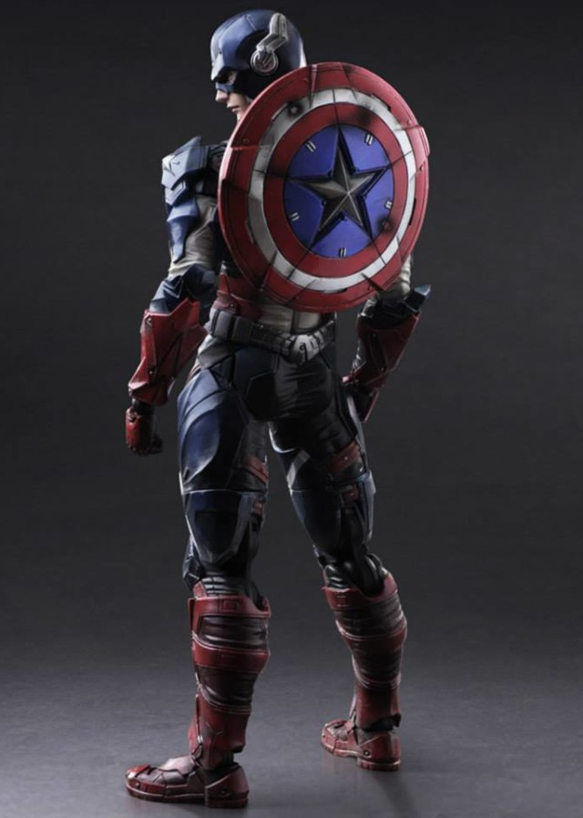 Captain America Play Arts Marvel Variant Figure with Shield on Back