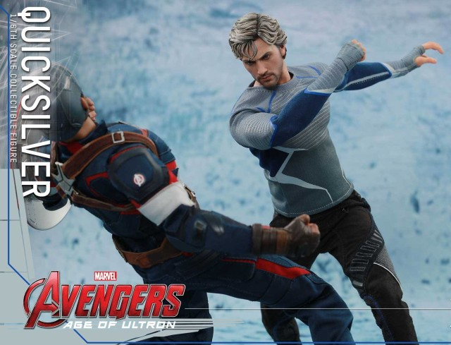 Hot Toys 2016 Quicksilver Avengers AOU Figure Punching Out Captain America