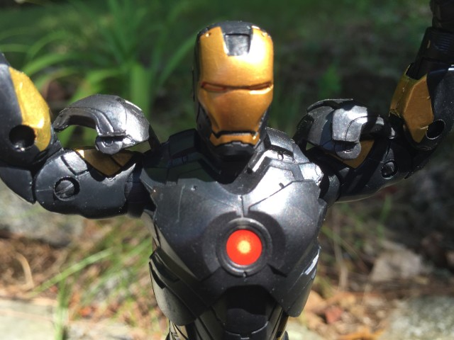 Marvel Legends Avengers Iron Man Black and Gold Figure Close-Up