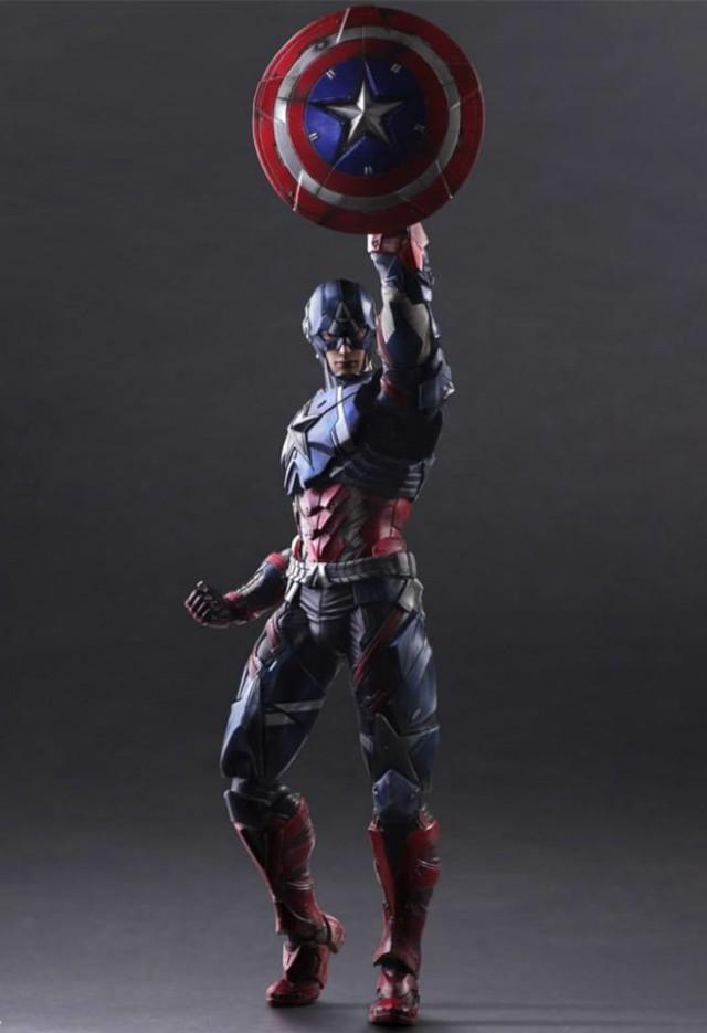 Play Arts Captain America Figure Raising Shield