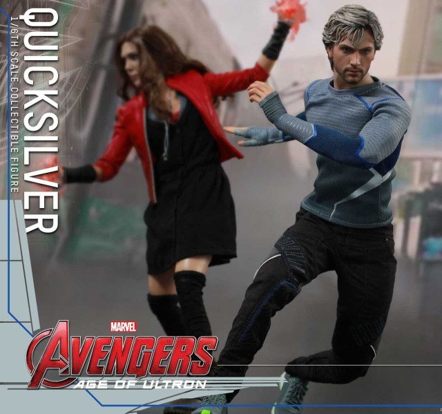 Quicksilver Hot Toys Figure with Scarlet Witch MMS Sixth Scale