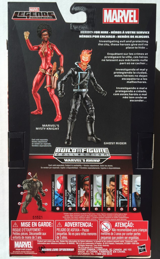 Back of Box Spider-Man Legends Heroes for Hire Misty Knight Figure