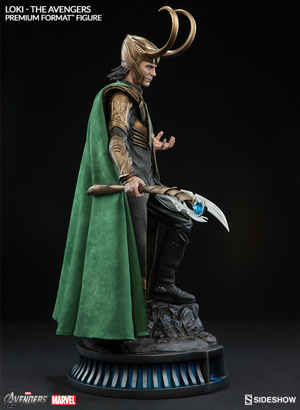 Side View of Loki Sideshow Premium Format Statue