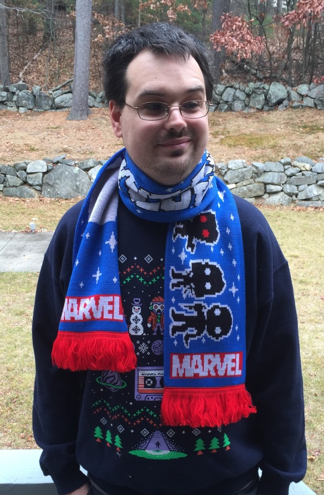 Dabid Wearing Guardians of the Galaxy Scarf from Funko Collector Corps