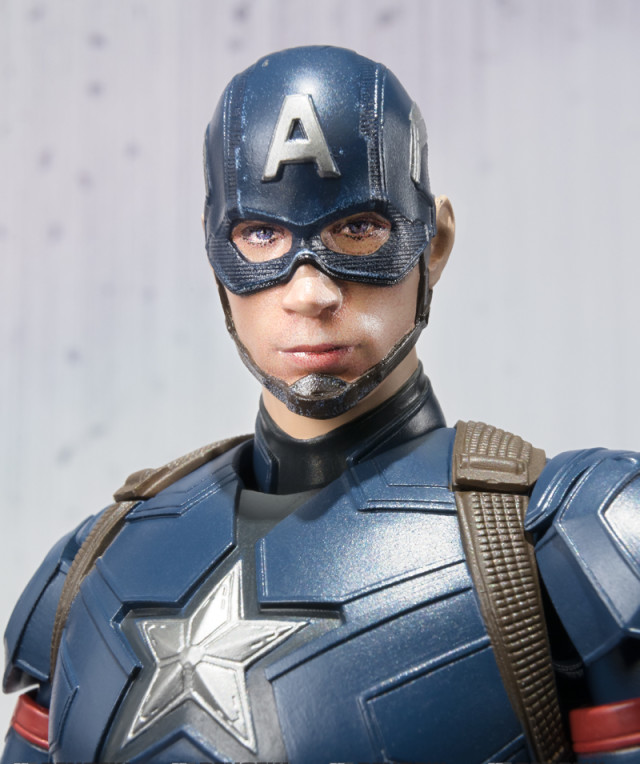 Close-Up of Bandai SH Figuarts Civil War Captain Ameria Figure Head